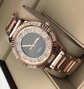 mujeres del diseñador de cuarzo relojes de lujo reloj de señoras de zafiro diamante de oro del calendario marcado números romanos del reloj de acero inoxidable regalos para las mujeres