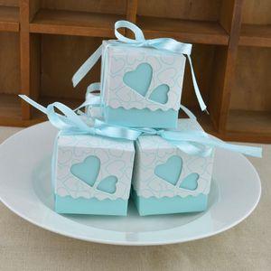 Scatola regalo di amore Bomboniera fai da te Stile creativo Poligono Bomboniere Scatole Caramelle e dolci Scatola regalo con nastro 6 colori Scegli lin3719