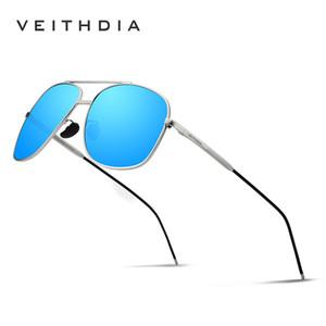 Veithdia 2018 paslanmaz çelik Havacılık Güneş Erkekler Için Polarize Kaplama Ayna Güneş Gözlükleri Gözlük Aksesuarla Erkekler / Kadınlar 2495