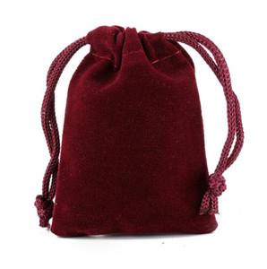 Ücretsiz Gemi 200 adet Şarap Kırmızı Yüksek kalite Kadife Çanta Takı Çanta Düğün Parti Şeker Noel Hediye Çanta