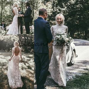 Vintage 1920's Boho Vestidos de Casamento com Manga Longa 2018 Modest Lace Completo Sem Alças Pescoço Trompete País Jardim Do Vestido de Casamento