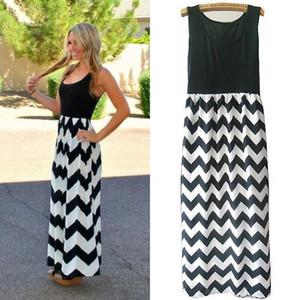 Yeni Kadın Yaz Plaj Boho Maxi Elbise Yüksek Kalite Marka Çizgili Baskı Uzun Elbiseler Kadınsı Artı Boyutu Toptan
