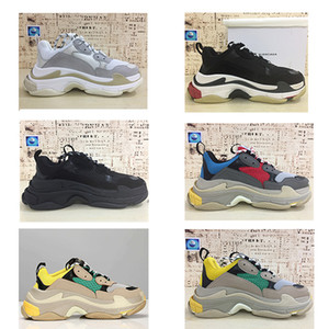 Hot !! 2018 balenciaga shoes Fashion Paris 17FW Sneaker Triple-S Triple S Casual Luxury Dad Shoes per Uomo Donna Beige Nero Sport Tennis Running Shoe 36-45