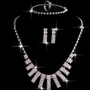 jewelry set for women wedding jewelry crystal necklace bracelets earrings rings hot fashion free of shipping