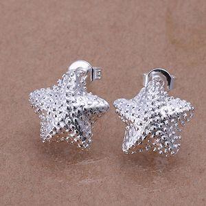 Venta caliente Fine 925 Sterling Silver Earring, XMAS Trendy New Style 925 Silver star orejas butyl Para mujeres joyería de moda Enlace Italia Lovely XE032