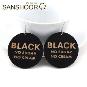 SANSHOOR 6 cm Grande Afrocentirc Dangle Brincos De Madeira Craved Vida Negra Sem Açúcar Não Creme Para As Mulheres Presentes de Natal 1 Par