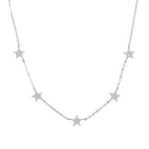 925 colar de estrela de prata esterlina micro pave cz bonito encantador estrela charme delicado cadeia de prata fina fina choker colares charme