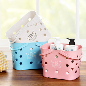 Plastic storage basket portable small bath basket bath basket desktop storage box