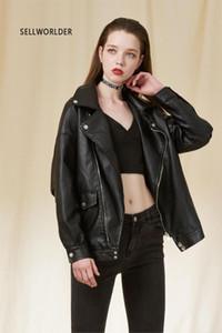 Women Autumn 2018 SELLWORLDER Leather Loose Jacket Pu Leather Oversize Coat Female