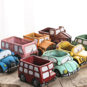 Creative Retro Car Flowerpot Colorful Planter Garden Succulent Plants Bonsai Car Flower Pot Decoration 21 Styles OOA5243