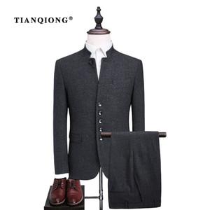 Conjunto de Terno de Lã Único Breasted TIAN QIONG Homens Moda Túnica Chinesa Homens Terno Slim Fit Formal Blazers Pretos Casaco e Calças