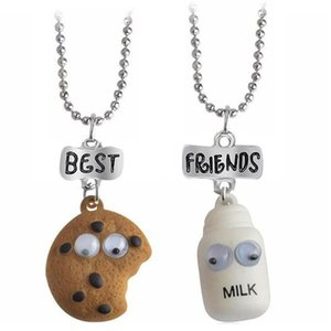Y 2pcs set Cookie&Milk Best Buds Pendant necklace Bead Chain Necklace Best Friend BFF Mini Miniature Food Jewelry