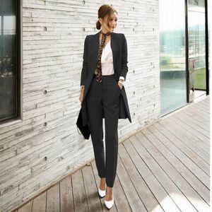 Frauen-Qualitäts-Anzug Set Büro-Damen Arbeitskleidung Damen Hose-Klagen Formal Female Blazer Jacke Hosegurt 2 Stück