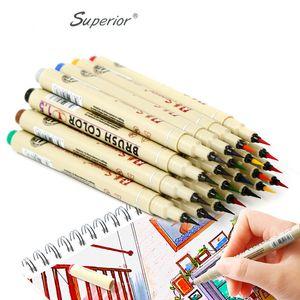 12 Cores Desenho Artista Escova Caneta Esboço Marcadores Set Para Crianças Escolares Artigos de Papelaria Aguarela Caneta Caneta Suprimentos