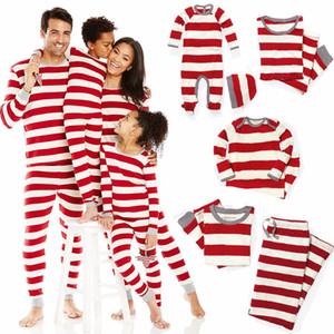 Noel Eşleştirme aile pijama XMAS giyim romper kıyafeti hediye mama papa çocukları çizgili kıyafeti bebek çocuk yetişkin giysileri çizgili kırmızı
