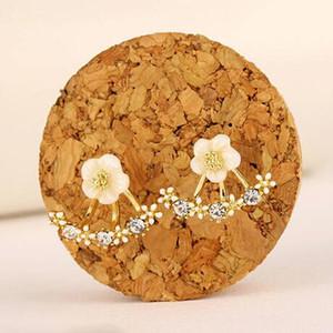 Anti alerjik Saf gümüş takı 925 Ayar Gümüş Küpe papatya çiçek Saplama Küpe ön ve arka iki taraflı saplama küpe Kulak tırnak