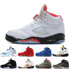 Yüksek kalite 5 5 s Kanatları Uluslararası Uçuş Erkek Basketbol Ayakkabıları OG Metalik Siyah Düşük Çin Gümüş Beyaz SUP sneakers tasarımcı eğitmenler