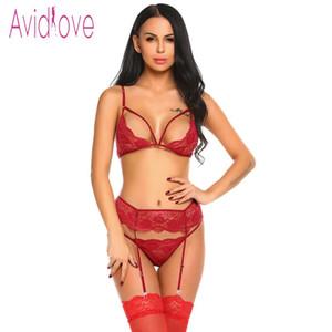 Avidlove Open Cup Reggiseno Plus Size Erotic Lingerie Set Camicie da notte in pizzo Reggiseno sexy Panty Womans Lingerie ed esotici Set Prodotti sessuali S18101509