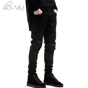 Wholesale-AOMU 2017 New Black Ripped Jeans Super Skinny Famous Designer Brand Slim Fit Jean Pants Scratched Biker Jeans Men/Women