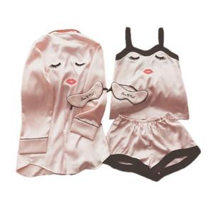여자 귀여운 잠옷 세트 만화 3PCS 스트랩 TopShortsRobe Home Wear 섹시한 잠옷 Ice Silk Pajamas Suit Intimate Lingerie