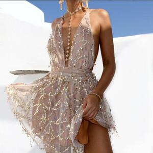 V шеи сексуальные спагетти ремень женщины платья блестки спинки Империя платья для Леди мода ночной клуб короткие платья