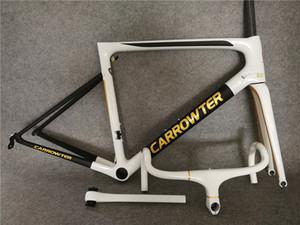 Ensemble cadre + guidon vendu ensemble UD blanc-noir or CARROWTER cadre de vélo de route en carbone avec PF30 taille 44/49/52/54/56 / 58cm