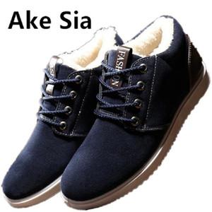 Ake Sia 2017 invierno mantener caliente tela de algodón tela moda moda zapatos hombres zapatos de encaje de fondo grueso hombres de la tabla ocasional