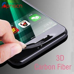Pellicola protettiva per schermo in vetro temperato curvo con bordo in fibra di carbonio lucido per iPhone 8 7 6 6S Plus HD trasparente in vetro temperato