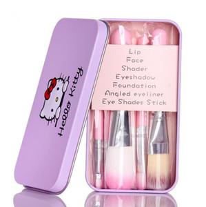 키티 7PCS 미니 세트 귀여운 메이크업 브러쉬 키트 전문 화장실 뷰티 제품 핑크 브러쉬 금속 상자 DHL 브러쉬