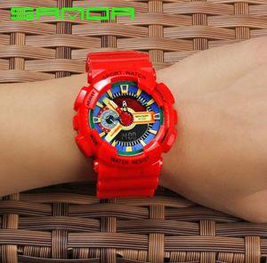 Brand sanda men Double display Multi-funzionale luminoso elettronico impermeabile studente sportivo orologi caramelle