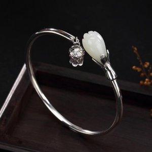 S925 sterling silver natural hetian jade magnolia flower lady simple smooth open bracelet lady bracelet 2018