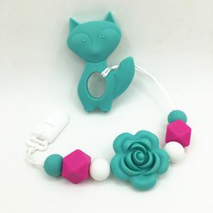 Pince de dentition de dentition de renard de dentition de silicone libre de BPA, collier de dentition de tétine de bébé de rose de fleur - collier de tétine de dentition de silicone