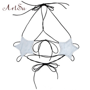 ArtSu Summer 2018 Star Halter Top in tessuto riflettente Bustier Sexy Clubwear Backless Crop Top Lace Up Camis Streetwear ASVE20316