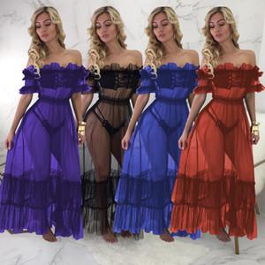 HISIMPLE 2018 Hombro Vestido largo maxi del verano del vestido de las mujeres vestidos de malla transparente Opacidad escritos volante atractivo del partido del club de noche vestido 3PCS