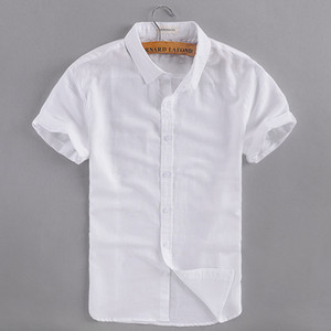 2017 Summer new business casual linen shirt men cotton short sleeve white men shirt  clothing mens shirts camisa masculina