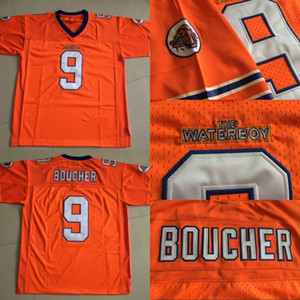 Mens The Waterboy Movie Jersey # 9 Bobby Boucher 100% cosido Retro camisetas de fútbol naranja envío rápido S-XXXL