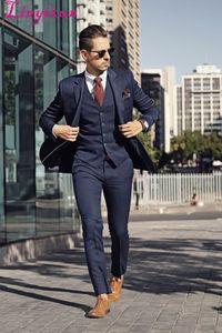 Linyixun Fashionable Navy Business Mens Suits 3 Pieces Wedding Tuxedos Groomsmen Best Man Jacket+Pants+vest Formal Suit for Men
