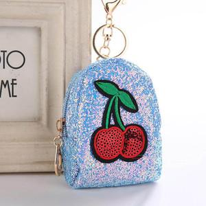 귀여운 체리 미니 동전 지갑 열쇠 고리 매력 가방 액세서리 반짝이 Pompom 장식 열쇠 고리 선물 Keyfob 6 스타일