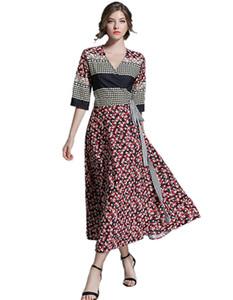 Runway Dress Mujeres Elegantes de manga corta con estampado floral Vintage Summer Chiffon Dress Beach Holiday Vestidos largos de alta calidad 2018