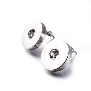 Basit noosa gümüş kaplama 12mm 18mm snap düğmesi saplama küpe kadınlar için snap düğmesi takı