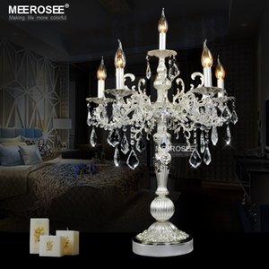 21-дюймовый бронзовый цвет старинные настольные лампы Кристалл настольный свет Спальня Гостиная стол свет 6 свет держатели TL3134