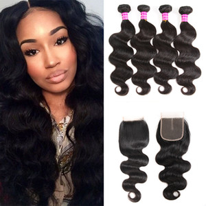 Unprocessed Body Wave Bundles With Lace Closure Accessories Brazilian Virgin Human Hair Extensions Malaysian Weave Bundles Free Shipping