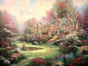 Óleo da paisagem sem moldura ou moldado Thomas Kinkade Pintura reprodução de alta qualidade de imagem impressa em canvas Modern Home Decor Art HT159