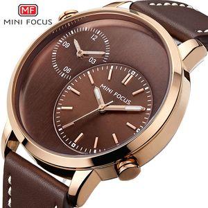 MINIFOCUS Fashion Men Leather Strap Watches Waterproof Quartz Wristwatch Dual Time Zone Brown Wristwatches Men Wedding MF0035G