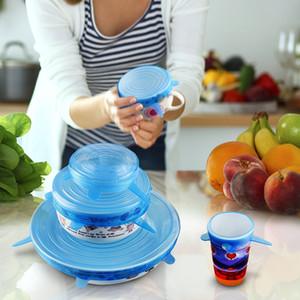 6pcs / set Silicone estiramento sucção Pot tampas reutilizáveis fresco Mantendo Enrole Universal vedação da tampa Ferramentas Pan tampa de fecho da tampa de cozinha