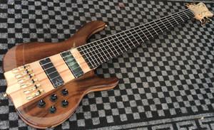Top quality Walnut 6 corde chitarra elettrica B, pickup attivo, manico in acero attraverso il corpo, 2018 Factory twin truss rod guitar Bass