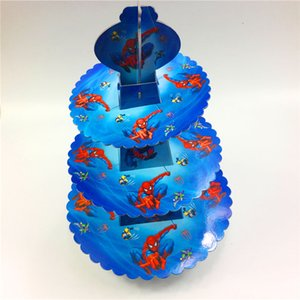 wholesale 1Set Spiderman Cartoon 3-tier cake stand baby shower supplies kids birthday party decoration cupcake stand