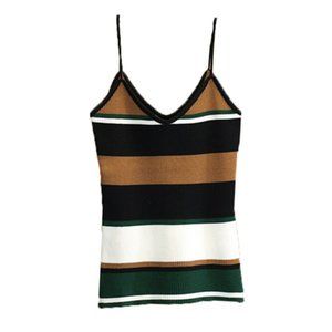 EFINNY 2018 Camis Femmes Hot Sexy Cropped Stripe Cami Top Casual Camisole Côtelé Summer Tops Knop Crop Top