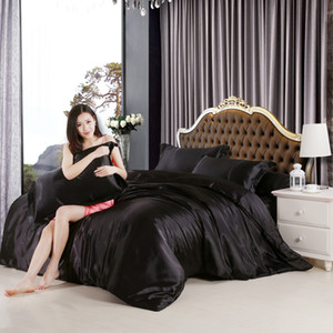 imitate silk feel satin solid black white purple bedding set single queen size king duvet cover set bedclothes bed sheet