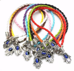 Comercio al por mayor 30 Unids Mezclado HAMSA HAND Evil Eye String Pulseras Lucky Charms Leather DIY